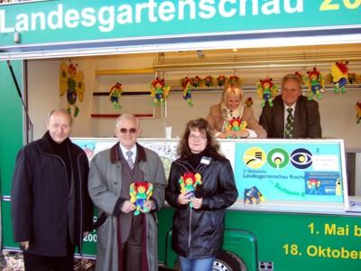 3. Tag der offenen Baustelle am Werbewagen des Fördervereins 5. Sächsische Landesgartenschau Reichenbach 2009