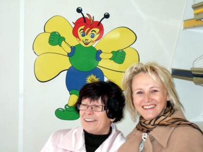 Frau Kießling und Frau Müller im Wagen des FV Landesgartenschau 2009 in Reichenbach im Vogtland
