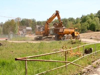 Die ersten Baumaßnahmen auf dem künftigen Gelände der Landesgartenschau