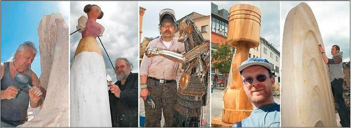 Jens Weber mit Tuchrolle und Schiffchen. Albrecht Ripp schuf