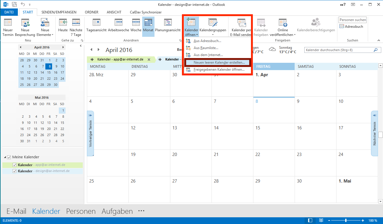 Kalender in Outlook einrichten