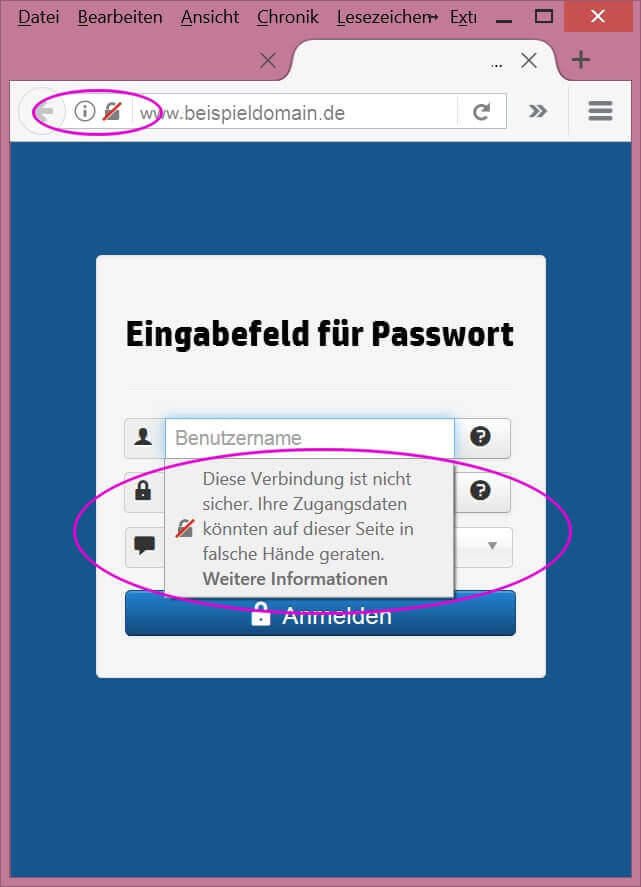 Warnungen in Firefox und Chrome - unsicherer Login